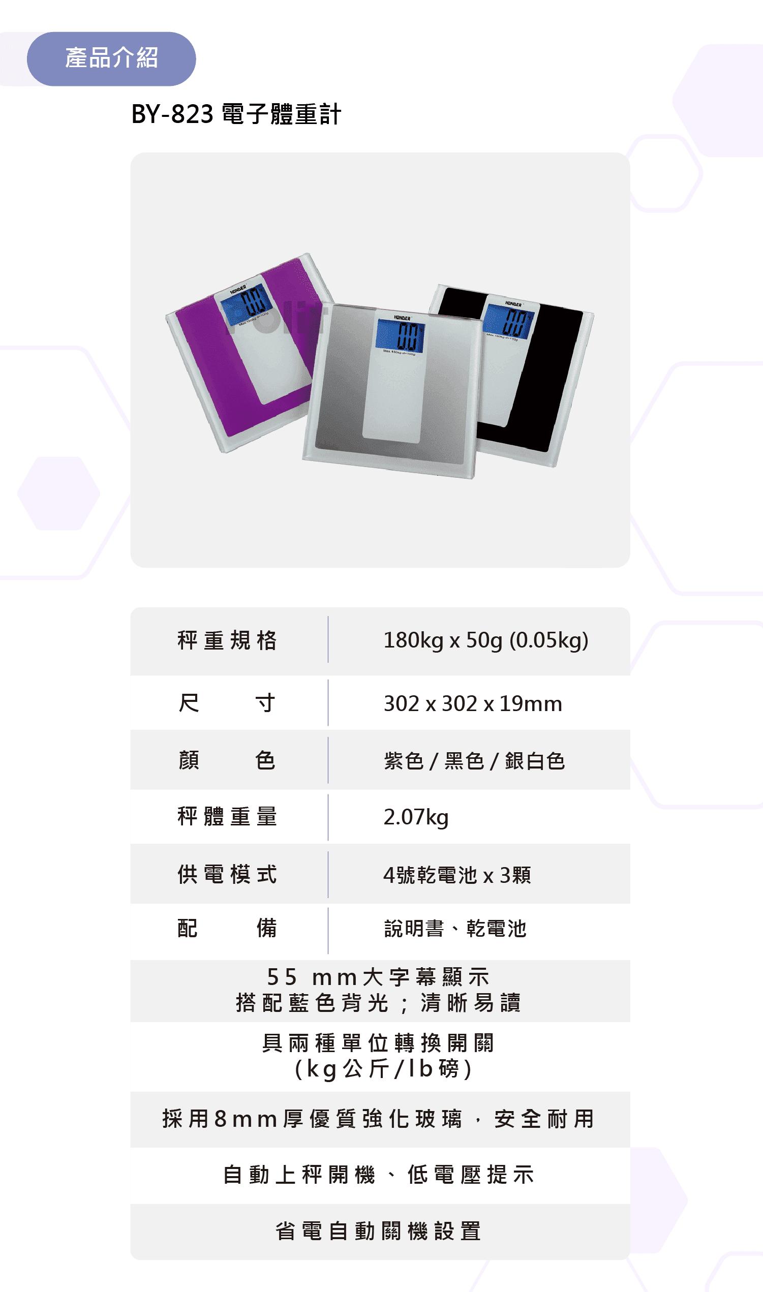 BY-823 電子體重計 | 沛禮國際 Polit 電子秤專賣