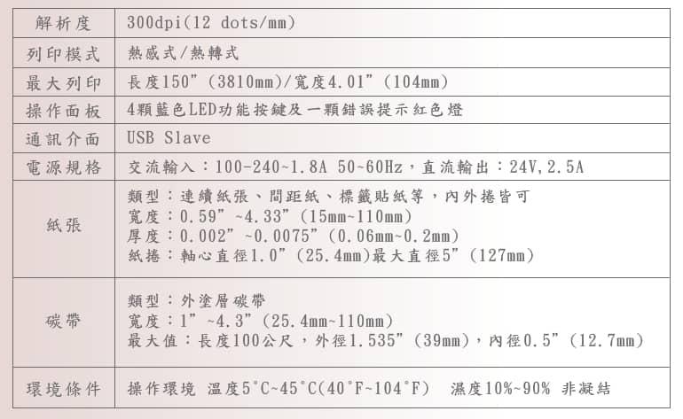 T4標籤機(說明表格)